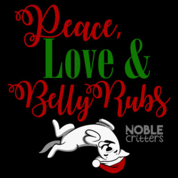 PEACE, LOVE AND BELLY RUBS - PREMIUM WOMEN'S FITTED S/S VNECK TEE - BLACK Design