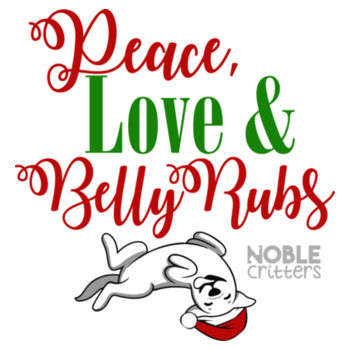 PEACE, LOVE AND BELLY RUBS - PREMIUM WOMEN'S FITTED S/S VNECK TEE - WHITE Design